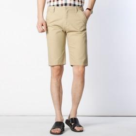 纯棉短裤男夏季新款大码休闲纯色五分裤男装沙滩裤