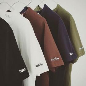 夏季潮流圆领t恤男短袖修身纯色纯棉