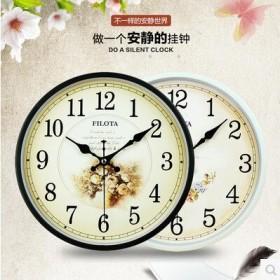 超静音斐珞特圆形挂钟欧式客厅钟表时尚时钟挂表现代壁