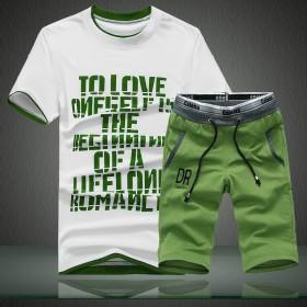 夏天短裤男士宽松运动套装青少年晨跑运动服健身服直筒