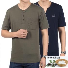 中年男装短袖t恤男士纯棉体恤带口袋大码体血衫中老年