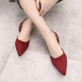 新款凉鞋女单鞋尖头粗跟矮跟休闲女鞋低跟百搭学生拖鞋
