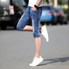 夏季时尚弹力牛仔裤男牛仔短裤男士短裤薄款修身