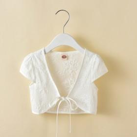 女童披肩外套小坎肩夏装纯棉儿童开衫薄款外套宝宝短袖