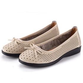 夏季新款真皮凉鞋41大码43平底中老年女鞋中年镂空