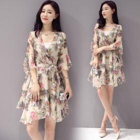 连衣裙子高腰连衣裙气质高跟鞋女鞋连衣裙夏季女裙