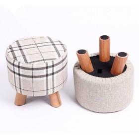 布艺换鞋凳实木圆凳