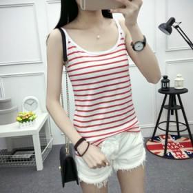 新品夏季韩版新款女装打底黑白条纹小吊带背心宽松棉