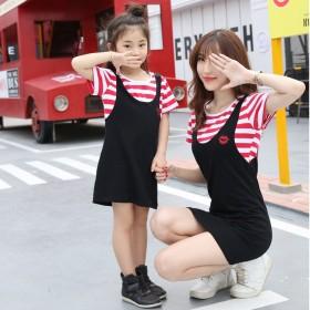 亲子装母女装夏童装连衣裙条纹假两件套装表演服
