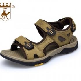 新款骆驼真皮沙滩凉鞋