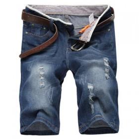 夏季薄款男士牛仔短裤直筒宽松牛仔裤男装青年破洞修身