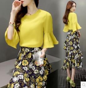 2017夏两件套套装裙韩版气质印花裙子中长款显瘦连