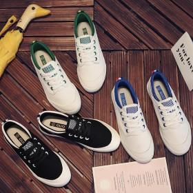 百搭同款学生平底运动帆布小白鞋韩版系带休闲帆步鞋