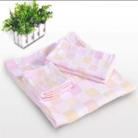 【包邮】 纯棉纱布浴毯毛巾方巾三件套