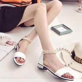 潮流性感珍春夏季时尚珠扣中空凉鞋百搭女鞋
