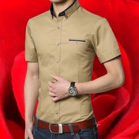 纯色短袖衬衫男士韩版修身寸衫