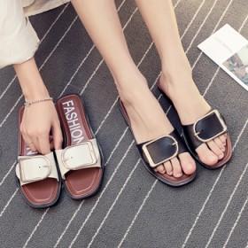 欧美拖鞋女夏皮带扣拖鞋外穿拖鞋女防滑一字拖时尚金属