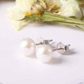 925纯银天然珍珠耳钉耳环防过敏