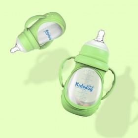智能感温玻璃奶瓶带硅胶套防摔 宽口径带手柄防胀气奶