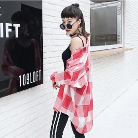 防晒衣女2017夏季新款宽松中长款格子衬衫