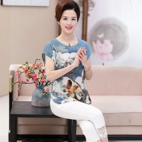 (包邮)妈妈套装夏40-50岁2017新款雪纺短袖