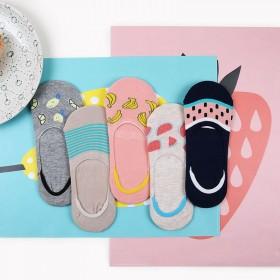 5双女士硅胶防滑船袜 纯棉浅口休闲隐形袜