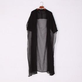雪纺空调长款女夏防晒衣七分袖披肩开衫宽松高开叉外套