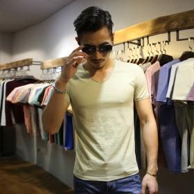 夏季V领竹节棉短袖T恤 天猫
