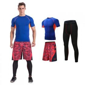 运动服装男套装夏天跑步 健身房运动服套装紧身三件套