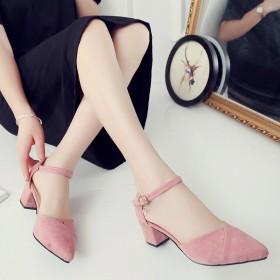 2017春夏季新款凉鞋韩版一字扣尖头粗跟高跟鞋浅口