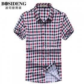 波司登男装夏季新款男士休闲短袖衬衫半截袖格子衬衣