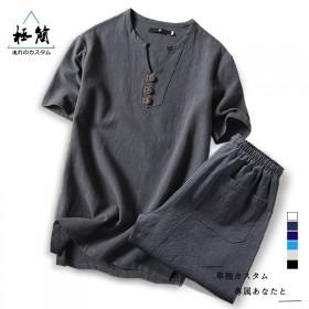 特价包邮,原创亚麻短袖T恤套装,休闲精品,送运费险
