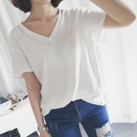 2017夏季新款女装学院白色大V领短袖t恤韩版