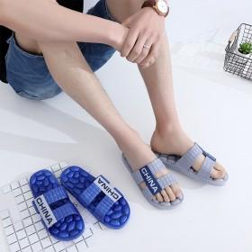 夏季一字拖男士软底按摩底拖鞋时尚厚底防滑凉拖鞋室内