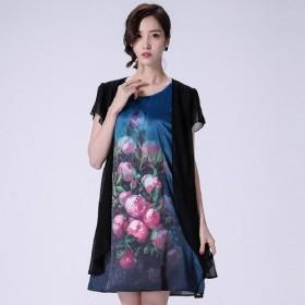 连衣裙中长款丝缎中国风手绘宽松显瘦中老年大码女装
