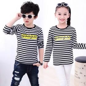 儿童长袖纯棉条纹韩版T恤圆领