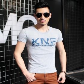 男士短袖棉t恤2017新款圆领青年大码体恤衫