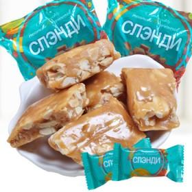俄罗斯进口KDV花生牛轧喜糖果零食品500克包邮