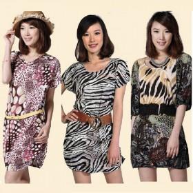夏季针织连衣裙宽松有弹动物纹印花大码短袖上衣