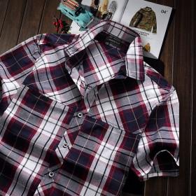 薄透气纯棉格子衬衫