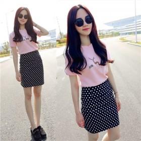 新款夏装气质时尚短袖t恤波点包臀显瘦两件套女装短裙