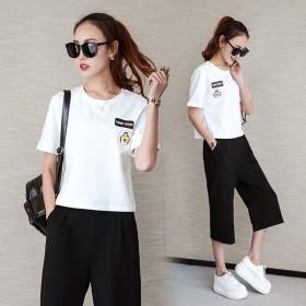 夏季新款韩版学生圆领短袖阔腿七分裤两件套休闲套装
