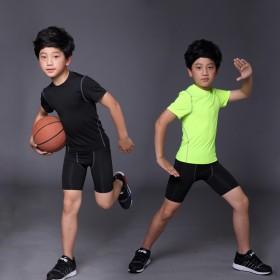 春夏儿童紧身衣套装透气速干T恤户外男孩训练服两件套