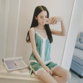 冰丝睡衣女夏套装韩版甜美夏季短袖丝绸蕾丝性感吊带冰