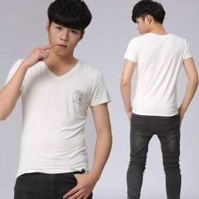 莫代尔纯棉夏弹力丝男式短袖T恤韩版修身V领