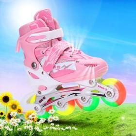 闪光旱冰鞋 滑冰鞋 儿童溜冰鞋全套装 成人轮滑鞋可