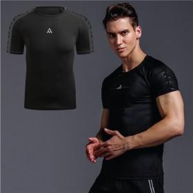 健身房男短袖圆领t恤弹力透气跑步