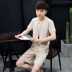 新款夏季亚麻套装短袖t恤男夏天两件套