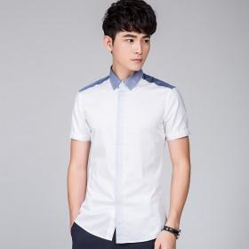 男装商务衬衫T恤男T恤短袖休闲纯色韩版衬衣青年上衣