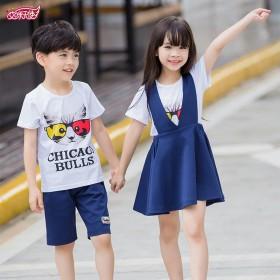 品牌女童纯棉背带裙套装时尚男童夏装套装送人旅游佳选